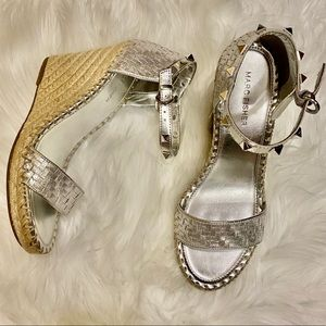 Marc Fisher Silver Espadrille Wedges